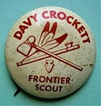 """DAVY CROCKETT FRONTIER SCOUT"" Pinback Button, Vintage - $9.50"