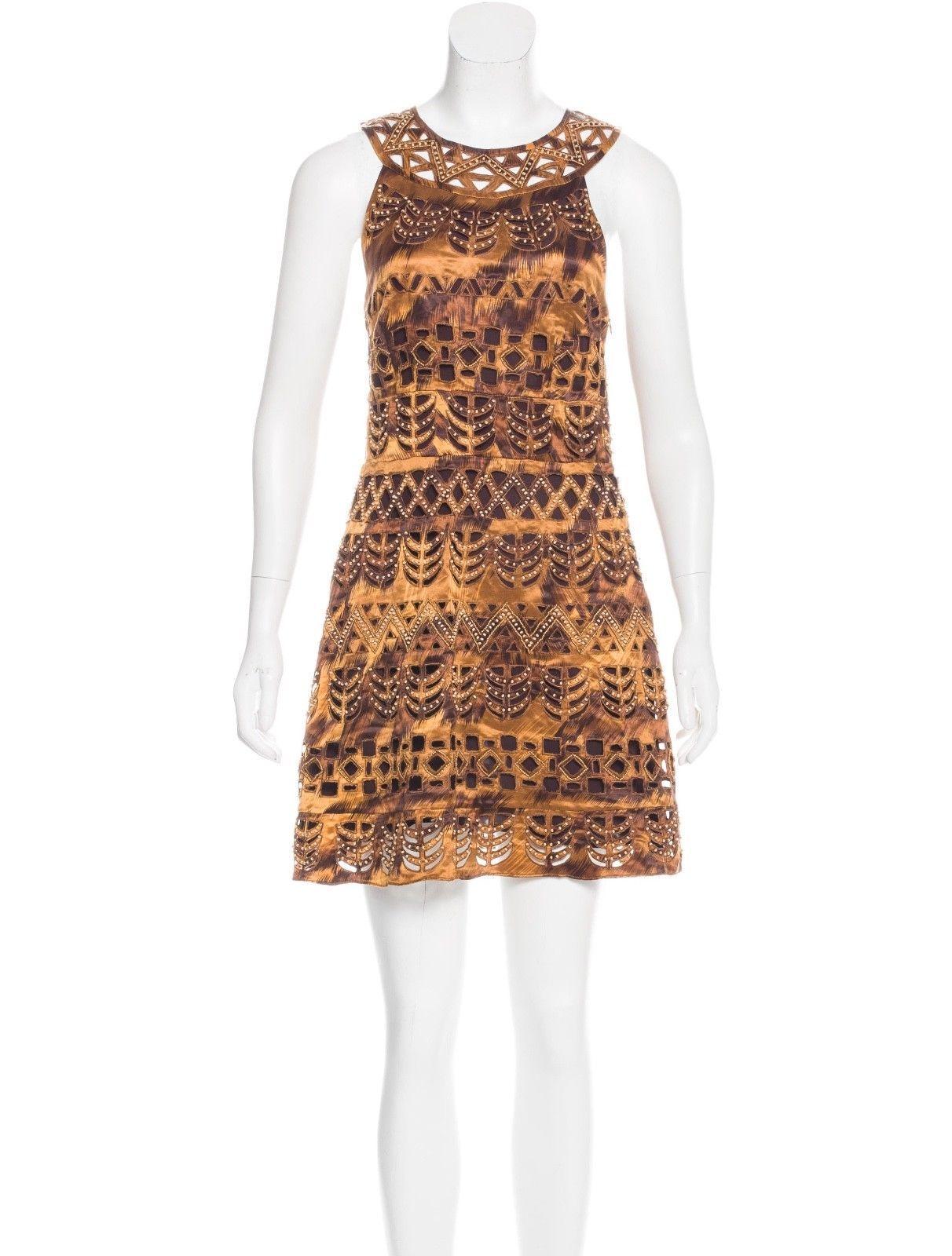 DVF Diane von Furstenberg Asuka Silk Shift Dress Brown Beaded sz 2 - $58.90