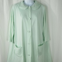 Vintage Shadowline Pale Mint Green Silky Nylon Lace Short Robe 1960s Small - $39.55
