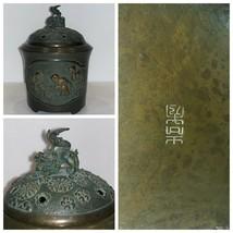 Antique Chinese Lidded Bronze Warmer Incense Burner Censer - $1,485.00