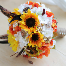 DIY Sunflower golden feather brooch bouquet, wedding bride 's Jewelry bo... - $125.00
