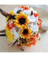 DIY Sunflower golden feather brooch bouquet, wedding bride 's Jewelry bo... - $125.00