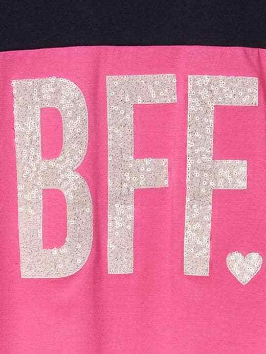 GAP Kids Girls T-shirt 14 16 Pink Navy Best Friend Graphic Long Sleeve Crew Neck image 3