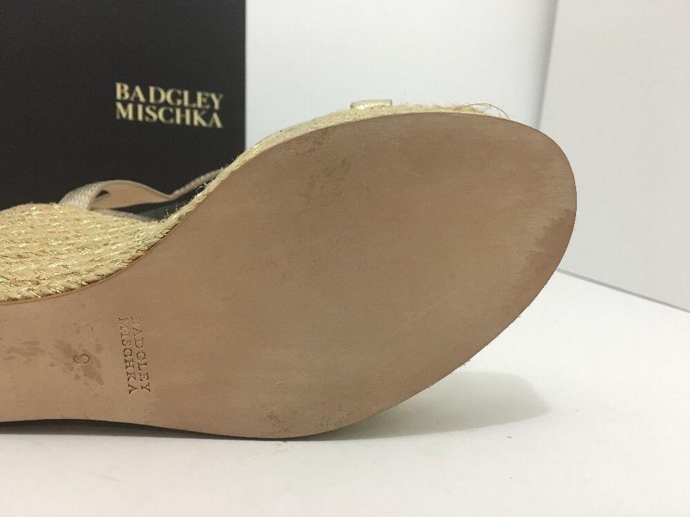 Badgley Mischka Clea Platino Metallic Womens Platform Wedge High Heels Sandals 9