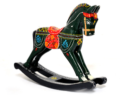 Wooden Crafts Rocking Horse Desk Decor Balance Art Figurines Home Office... - $32.95