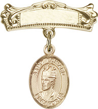 14K Gold Baby Badge with St. Edward the Confessor Charm Pin 7/8 X 3/4 inch - $533.22