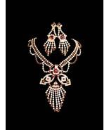 Red Rhinestone necklace / chandelier earrings / Dazzling demi parure / V... - $95.00