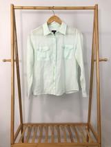 Talbots Women's Teal Button Front Long Sleeve Light Shirt Top Size 12P - $7.67