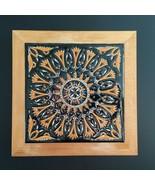 """Neofitou Keramik Greek Iznik Pottery Floral Art Tile Footed Wood Trivet 7⅝"""" - $25.00"""