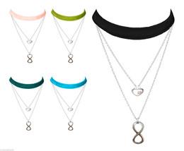 Lolusodesigns Layered Boho Velvet & Silver Infinity Love Heart Choker Necklace - $15.08