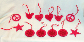 Red Christmas Ornaments Peace Love Snowflake Star Peace Sign Acrylic 12 - $8.99