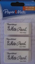 PAPERMATE WHITE PEARL ERASERS 3 Pack Eraser LATEX FREE Pencil Mark Removers - $3.46