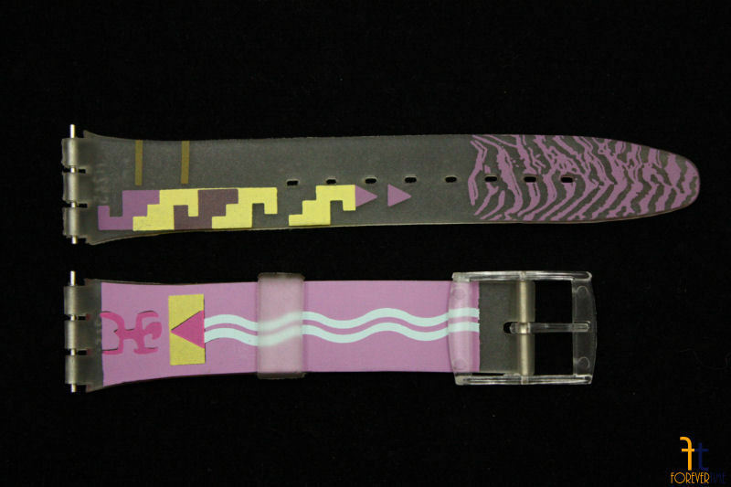 Primary image for 17mm  Purple/Yellow Tribal Design Clear PVC Watch Band Strap fits SWATCH watch