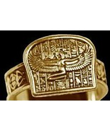 NICE Egyptian Isis Goddess Ring egypt Jewelry Gold plated OVR sterling s... - $38.23