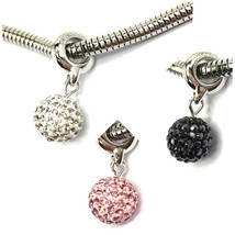 Swarovski Pave Ball Charms Bracelet Crystal Jewelry Pendant Necklace Sta... - $9.58