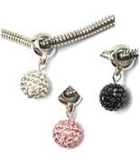 Swarovski Pave Ball Charms Bracelet Crystal Jewelry Pendant Necklace Sta... - $9.58