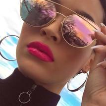 Elegante Grande Cat Eye Gafas de Sol Montura Metálica Plano Lente Espejo... - $7.66+