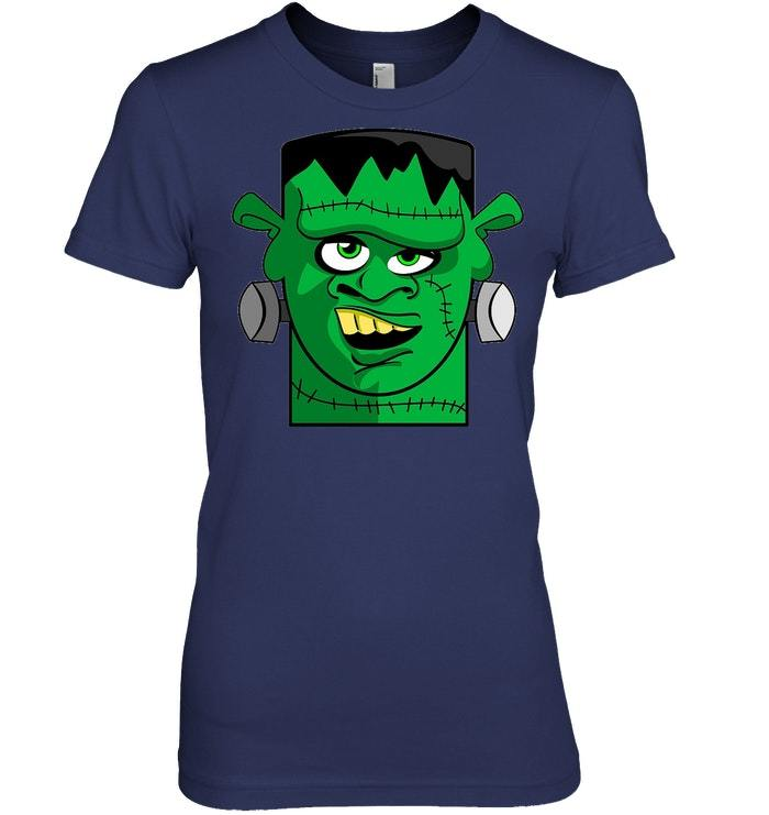 Frankenstein Face T Shirt Halloween Monster Zombie Gift Tee