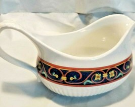 Pfaltzgraff Mazarine Gravy Boat Blue Gold Green Tan Discontinued Cream Pitcher - $19.95