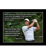 Tiger Woods Golf Quote Poster Motivation Wall Art Golfer Gift 'Work Ethic' - $19.99+