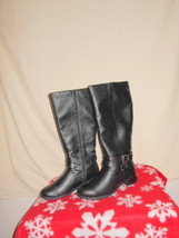 "SODA"" Tall Boots 81/2M Black/w/Straps&Buckle Accent 15""in Shaft&16""in Wi... - $18.50"