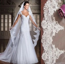 3m/10 ft White or Ivory 1T One Layer Lace Appliqué edge Cathedral Veil With Comb - $51.48