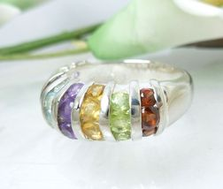 Multi Colors Variety Gemstone Sterling Domed Ring Size 7  - $45.00