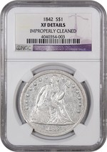 1842 $1 NGC XF Details (Improperly Cleaned) Low Mintage Date - Low Minta... - $426.80