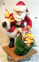 """VINTAGE SANTA CLAUS WITH BAG OF TOYS ON HEAVY CERAMIC FLOOR BASE -  10""""X10"""" image 2"""
