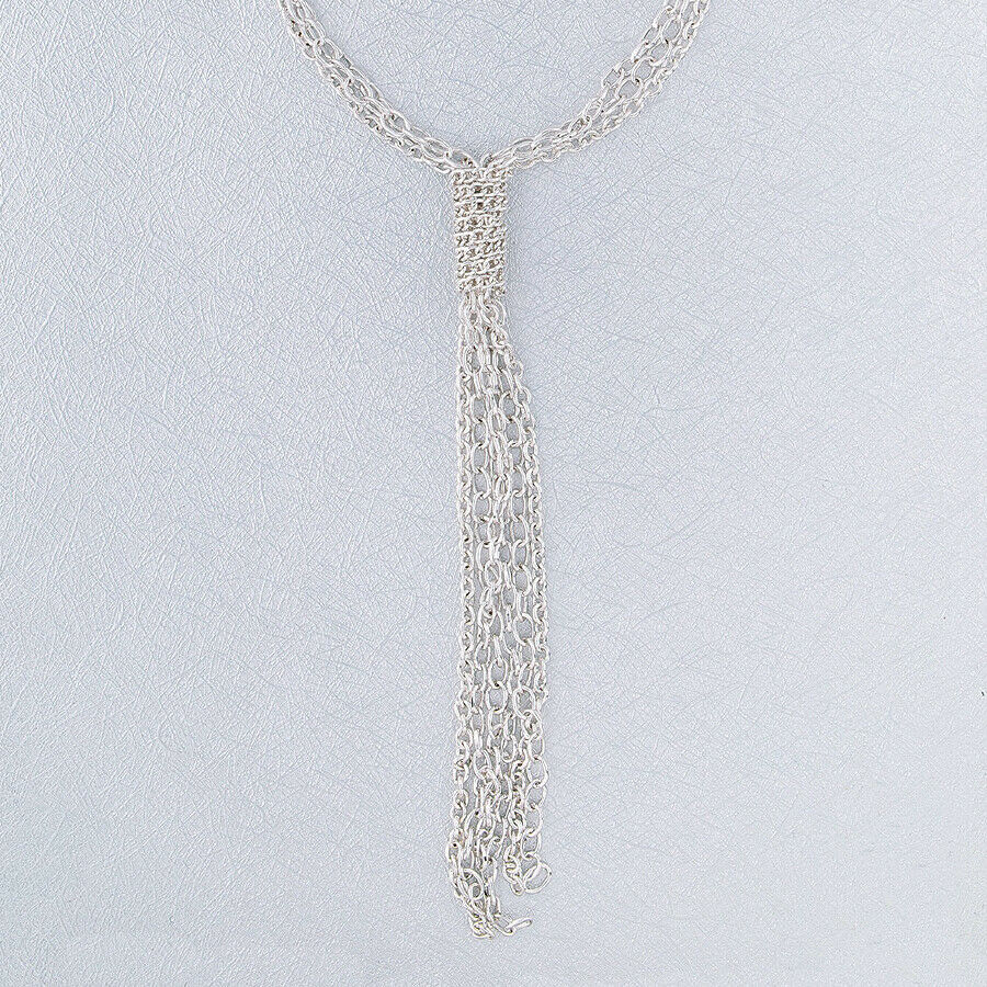 Primary image for Multi Strand Chain Knot Necklace Silver NEW