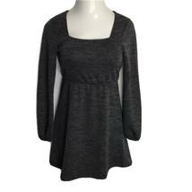 Xhilaration NWT Sz S Dress ~ Charcoal Gray ~ Above Knee ~ Long Sleeve ~ ... - $22.76