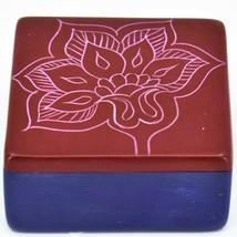 "Vaneal Group Hand Carved Kisii Soapstone Red & Blue Floral Flower 3"" Trinket Box image 1"