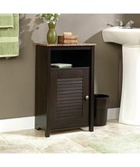 Dark Brown Bathroom Floor Cabinet Wooden Storage Organizer Towel Linen S... - $68.21