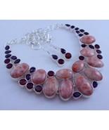 Jasper-Amethyst-Garnet Silver Overlay Jewelry Necklace 113 Gr. Fn-455-39 - $37.00