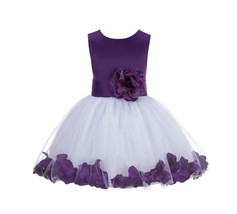 Satin Fluffy Tulle Rose Petal Flower Girl Dress Bridesmaid Wedding Pagea... - $39.99