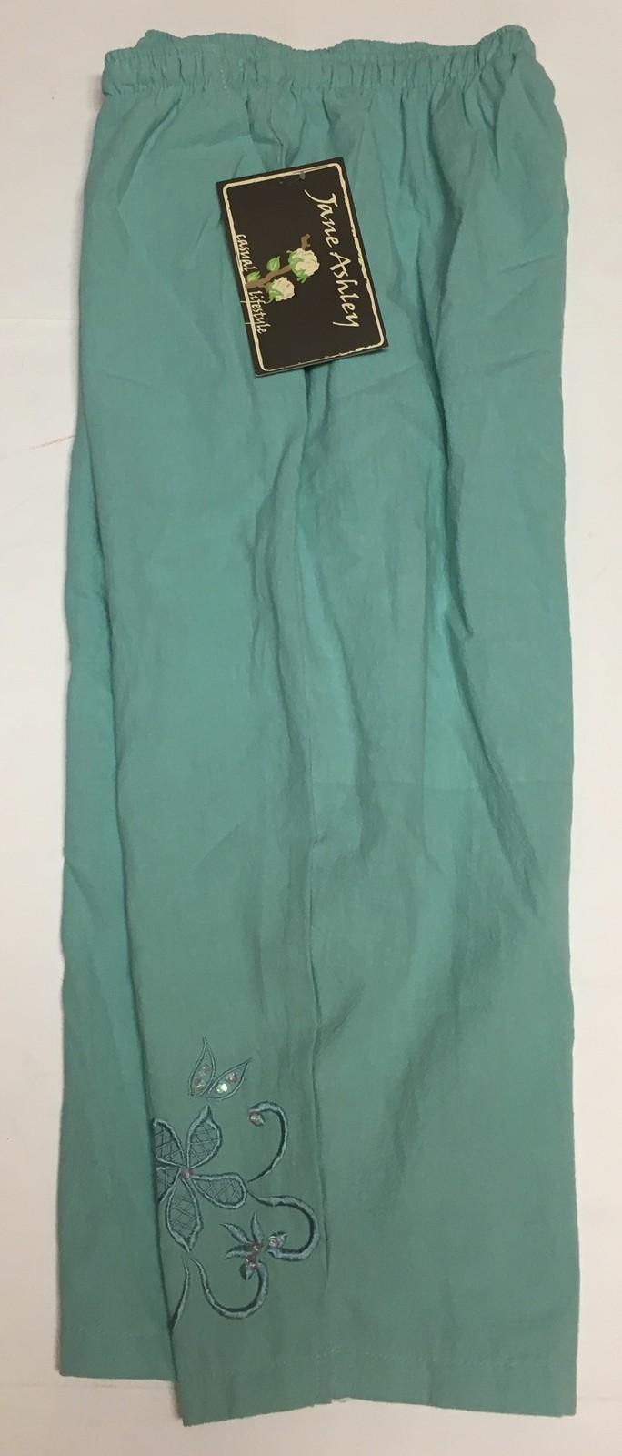 Jane Ashley Casual Lifestyle Lime Aqua Capri Pants Sz L Drawstring image 3