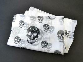 Alexander McQueen Skull Scarf Stole Scarves White Black 100% Silk Skelet... - $189.00