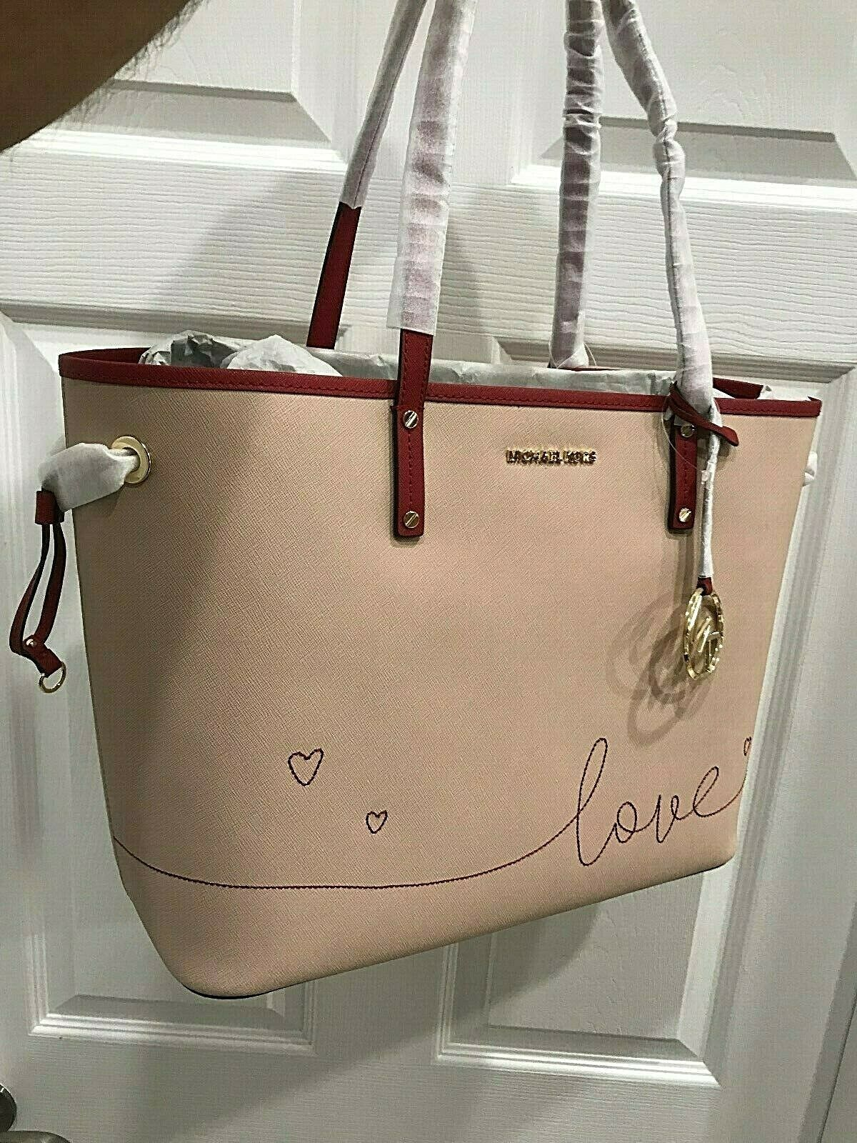 Michael kors Jet Set Lg Embroidered Love Drawstring Shoulder Tote & Zip Clutch