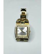 GUESS Women's Gold Tone And Rhinstone Square Watch U95141L1 **Working** - $34.25