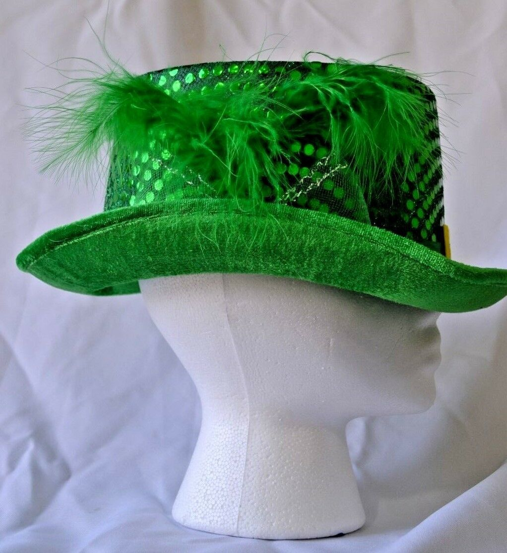 St. Patrick's Day Green Sequin Hat Top Hat Leprechaun Belt Feather NWT