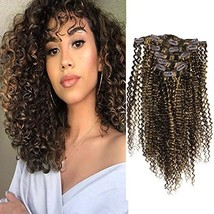 Fshine Curly Clip In Hair Extensions 14 Inch 7 Pcs Natural Clip In Hair Extensio