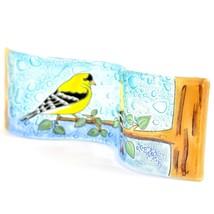 Fused Art Glass Goldfinch Yellow Finch Birds Wavy Decor Piece Handmade Ecuador image 2