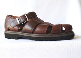 MEN'S SIZE 12 TIMBERLAND BROWN LEATHER FISHERMAN SANDALS SHOES - $37.36