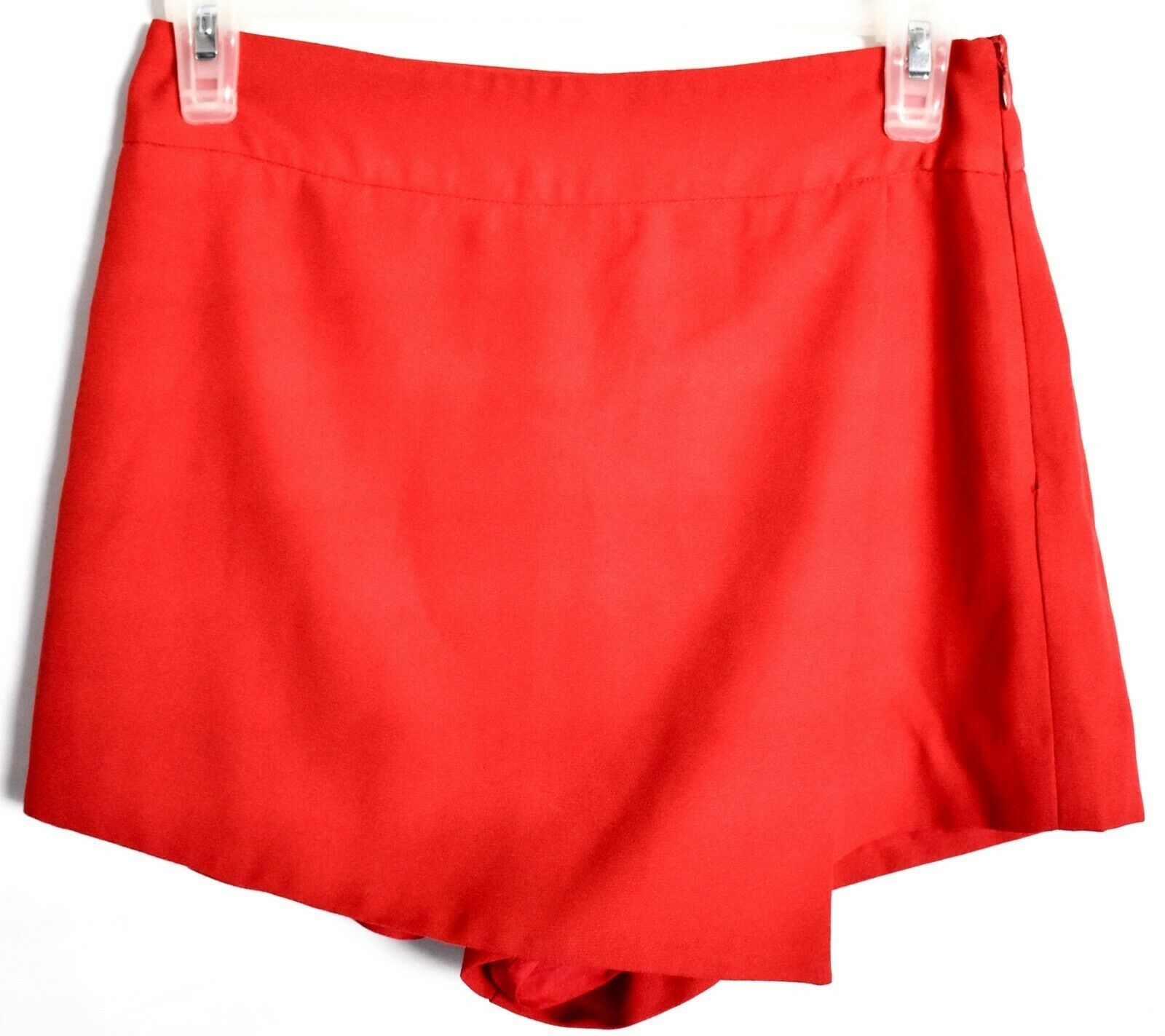 Forever 21 Contemporary Textured Knit Wrap Front Red Skort Size S