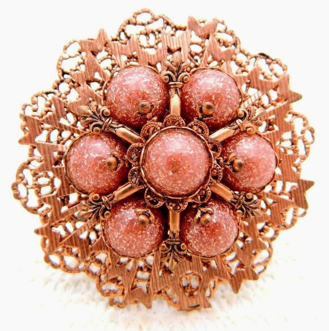 VTG Copper Tone Glass Metallic Bronzestone Large Flower Medallion Pin Brooch