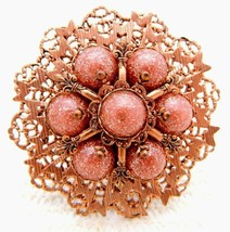 VTG Copper Tone Glass Metallic Bronzestone Large Flower Medallion Pin Br... - $19.80