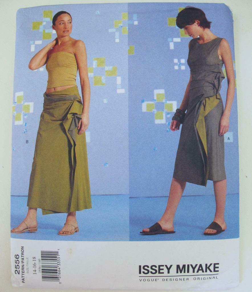 Primary image for UNCUT Vogue 2556 Issey Miyake Draped Dress Skirt Pattern 14 16 18 Designer Orig