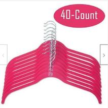 Huggable Shirt Non-Slip Hangers 40-Pack Fuschia Pink Felt Velvet Joy Mangano - $100.00
