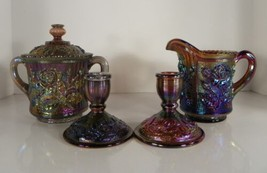 Imperial LUSTRE ROSE Carnival Glass Creamer and Sugar Bowl PLUS 2 Candle... - $66.33