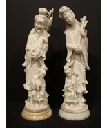 Exquisite Pair of Antique Ivory Japanese Man and Woman Playing Ins - $595.00